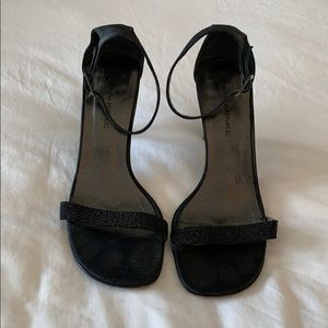 Black beaded strap evening sandals with 3 in heels